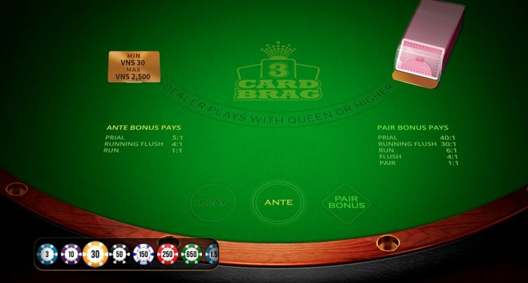 cách chơi three card brag